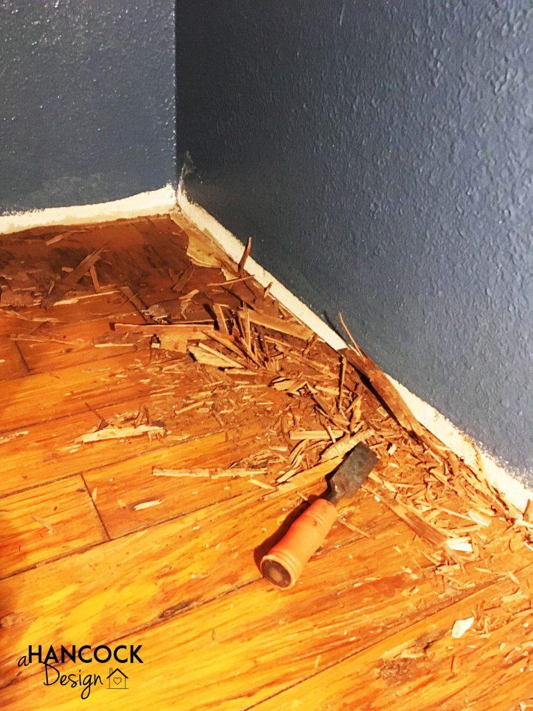Chiseling pine flooring