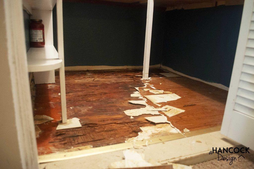 Pantry flooring demolition