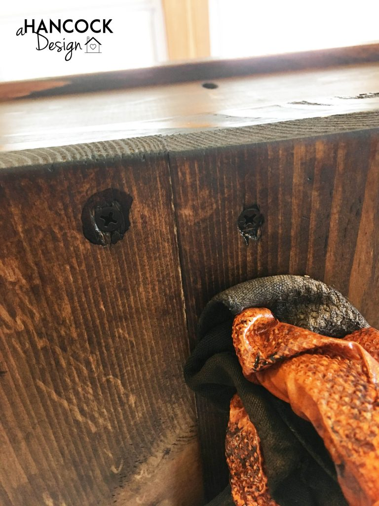 DIY custom footboard stain in screw holes