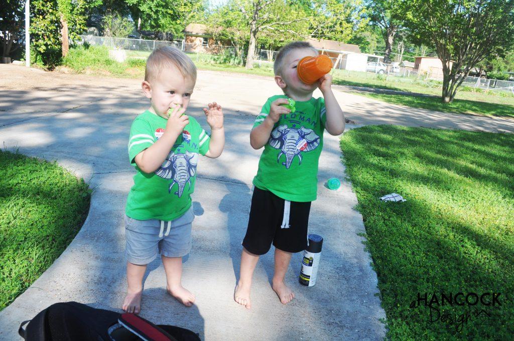 cute kids on sidewalk