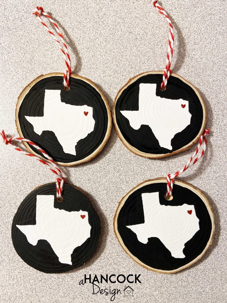Wood Slice Christmas ornaments Texas heart