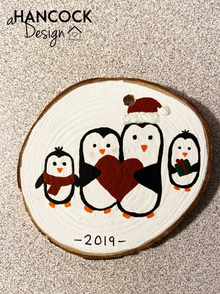 Wood Slice Ornament Penguins