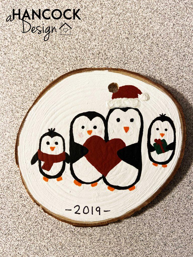 Wood Slice Ornament Penguins