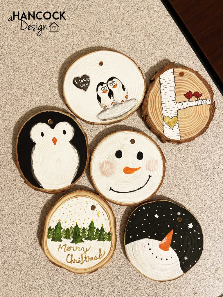 Wood Slice Ornaments snowman penguin christmas