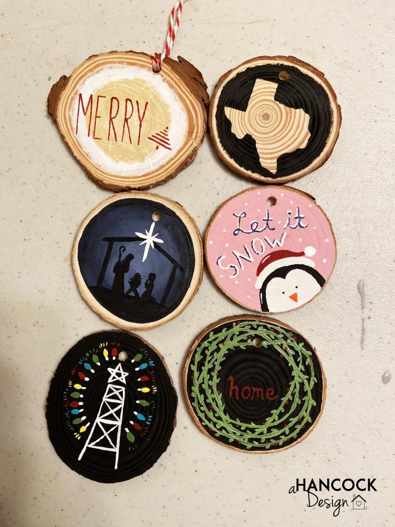 Wood Slice Ornaments Texas penguin nativity