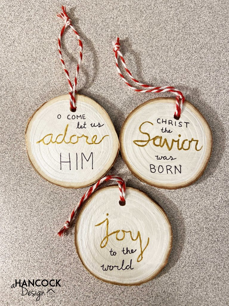 Wood Slice Ornaments Christmas carols