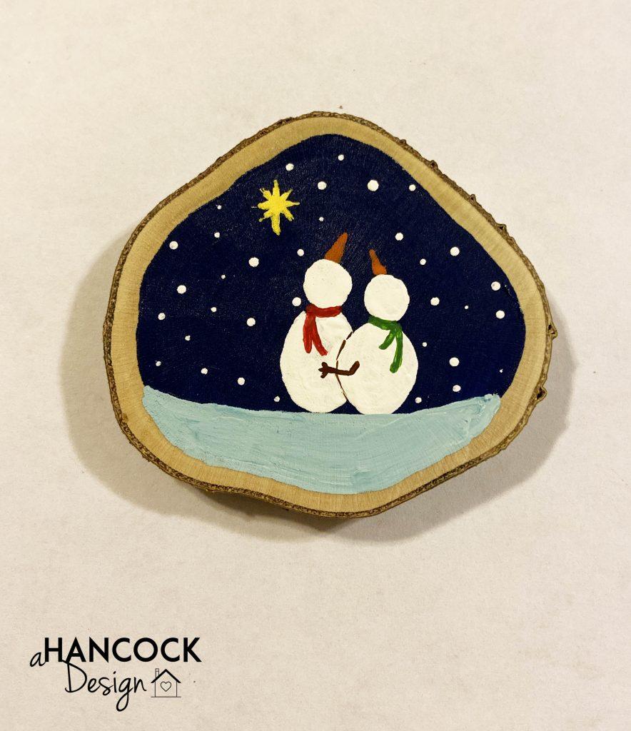 Wood Slice Ornaments snowmen