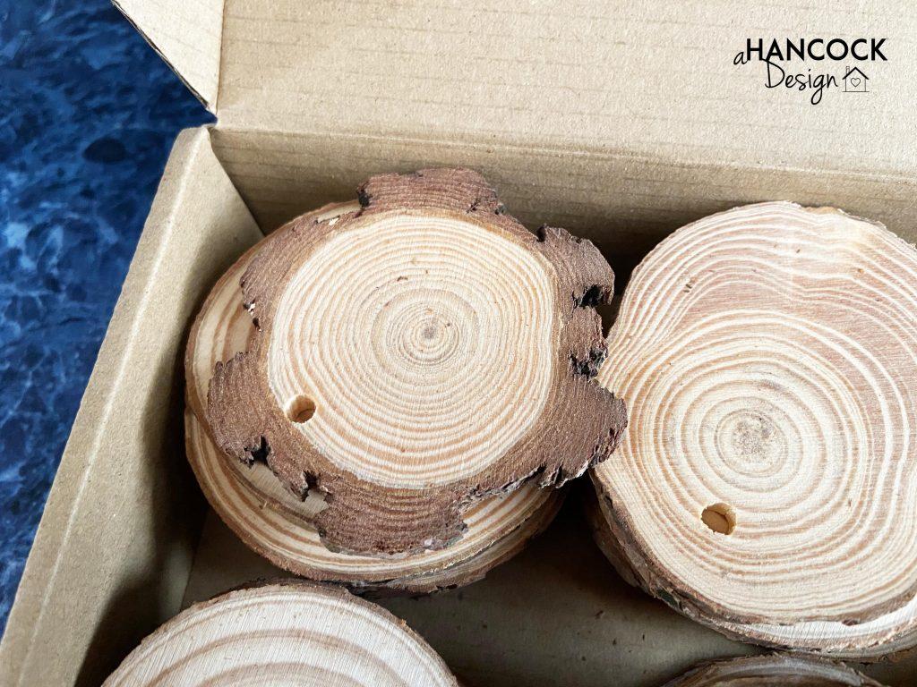 Wood slice ornament thick bark