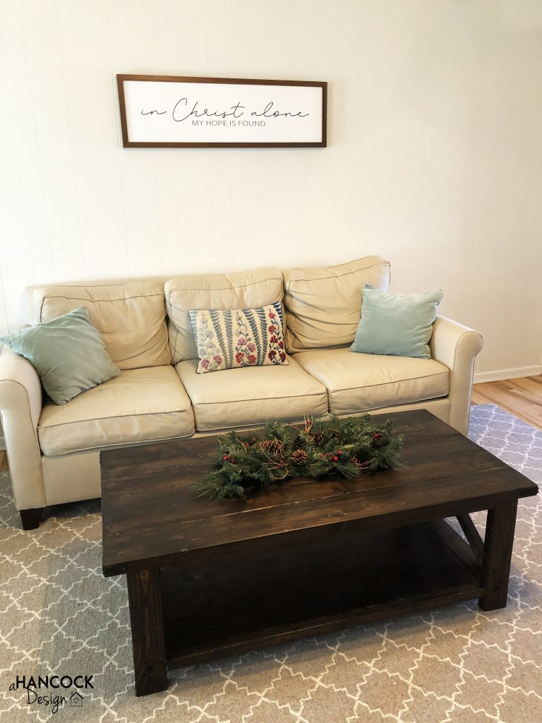 Coffee table staged Christmas