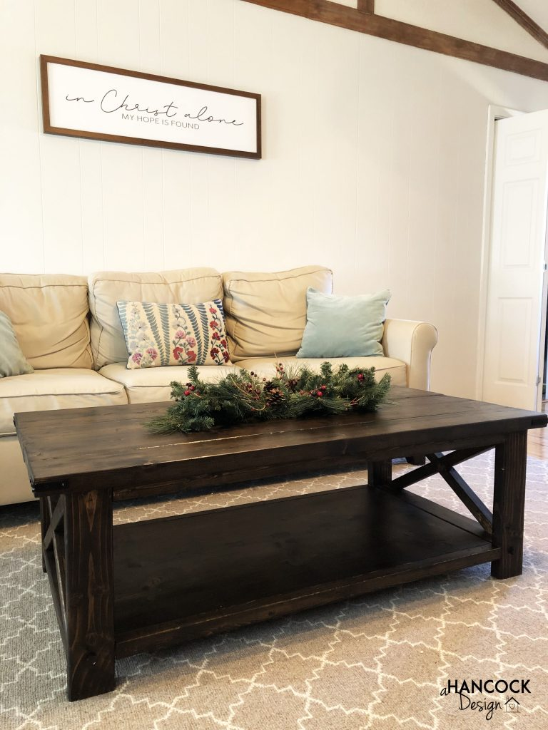 Coffee table staged for Christmas