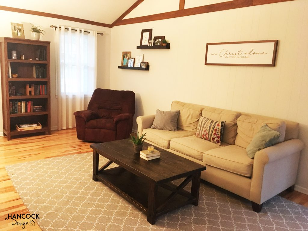Picture Ledges - living room staged