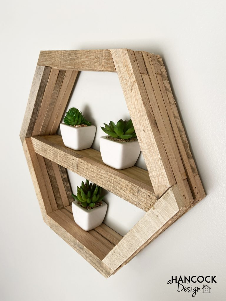 rustic hexagon plant shelf diy